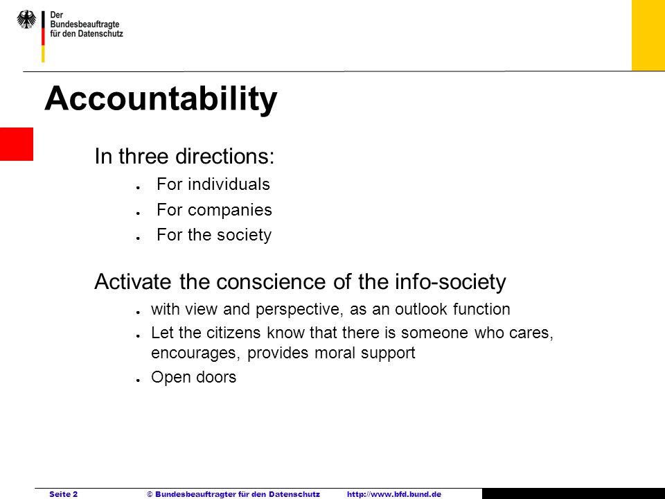 Seite 2 © Bundesbeauftragter für den Datenschutzhttp://www.bfd.bund.de Accountability In three directions: For individuals For companies For the socie