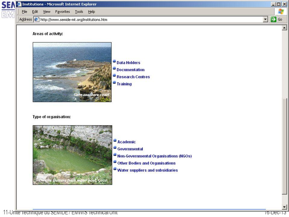 11-Unité Technique du SEMIDE / EMWIS Technical Unit16-Dec-13 Malta