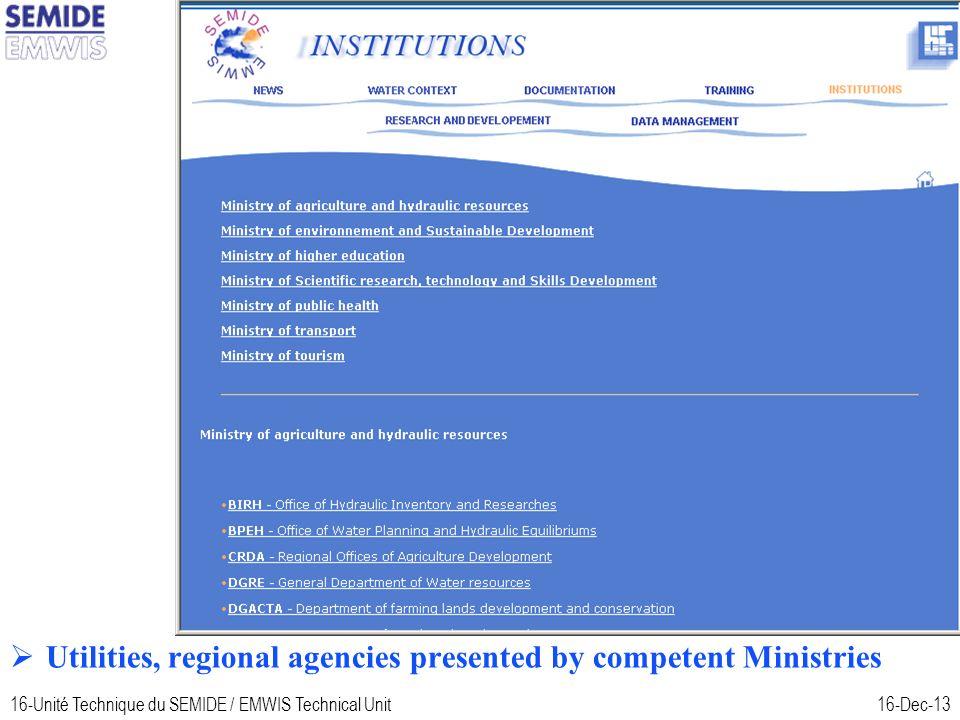 16-Unité Technique du SEMIDE / EMWIS Technical Unit16-Dec-13 Tunisia Utilities, regional agencies presented by competent Ministries
