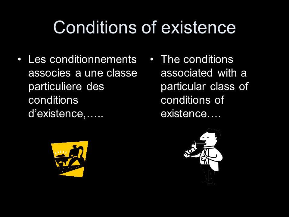 Conditions of existence Les conditionnements associes a une classe particuliere des conditions dexistence,….. The conditions associated with a particu