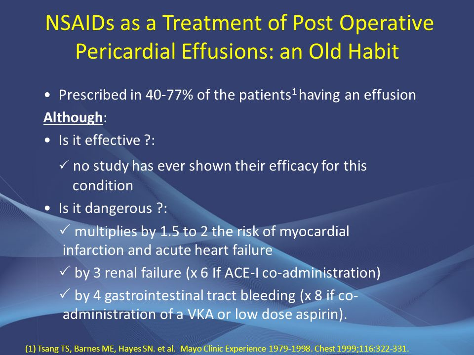 NSAIDs as a Treatment of Post Operative Pericardial Effusions: an Old Habit Prescribed in 40-77% of the patients 1 having an effusion Although: Is it