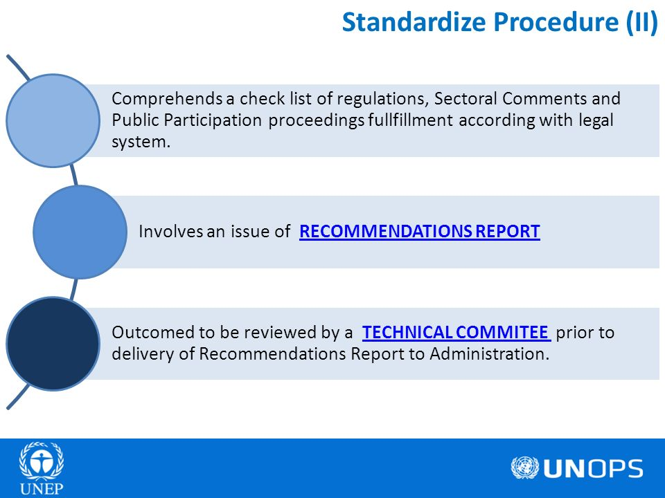 Standardize Procedure (II) Comprehends a check list of regulations, Sectoral Comments and Public Participation proceedings fullfillment according with legal system.