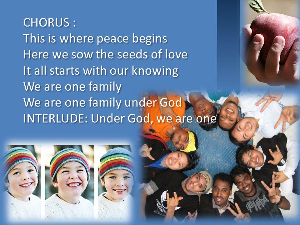Berbeda bangsa dan agama Namun kita bersaudara Dunia ini milik bersama Biar aman selamanya (repeat chorus) Berbeda bangsa dan agama Namun kita bersaud