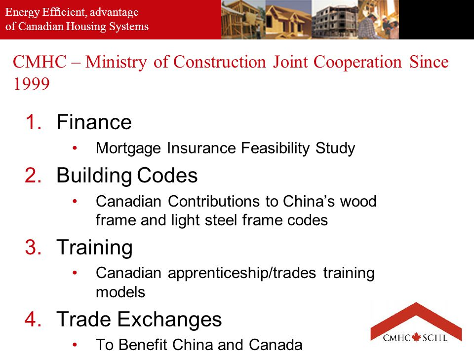 Energy Efficient, advantage of Canadian Housing Systems. CMHC – Ministry of Construction Joint Cooperation Since 1999 1.Finance Mortgage Insurance Fea
