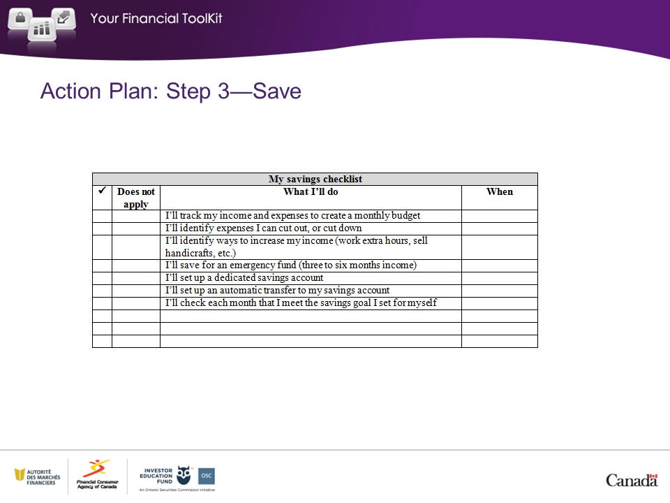 Action Plan: Step 3—Save