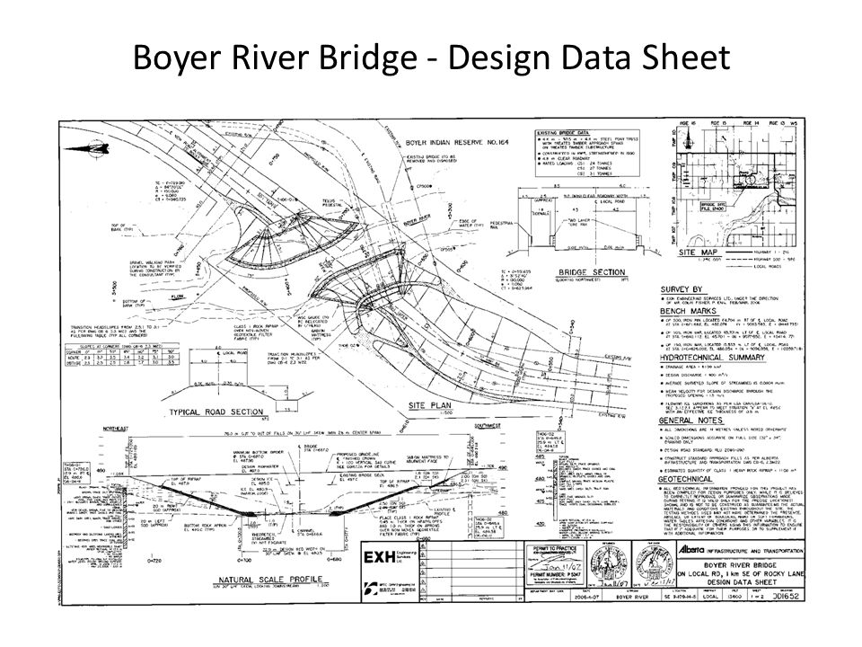 Boyer River Bridge - Design Data Sheet