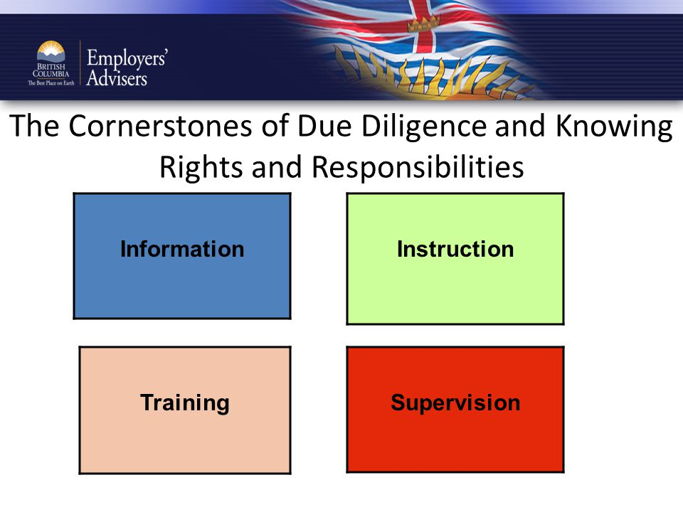The Cornerstones of Due Diligence and Knowing Rights and Responsibilities Instruction Supervision Information Training