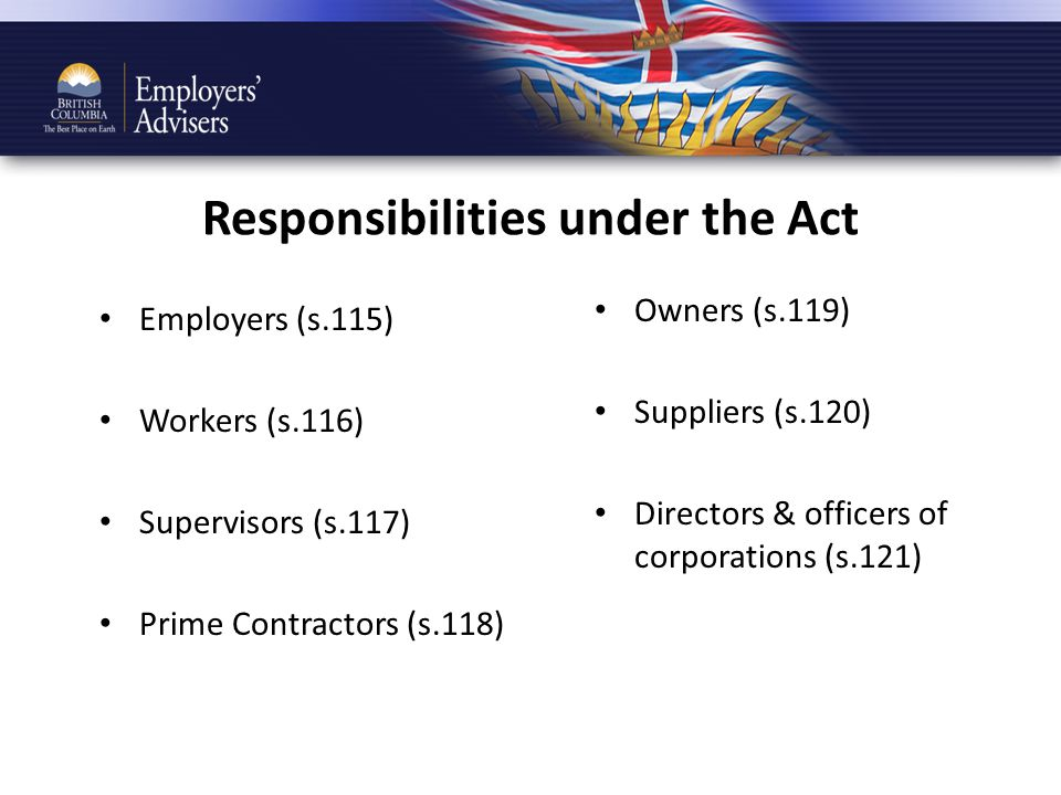 Responsibilities under the Act Employers (s.115) Workers (s.116) Supervisors (s.117) Prime Contractors (s.118) Owners (s.119) Suppliers (s.120) Directors & officers of corporations (s.121)