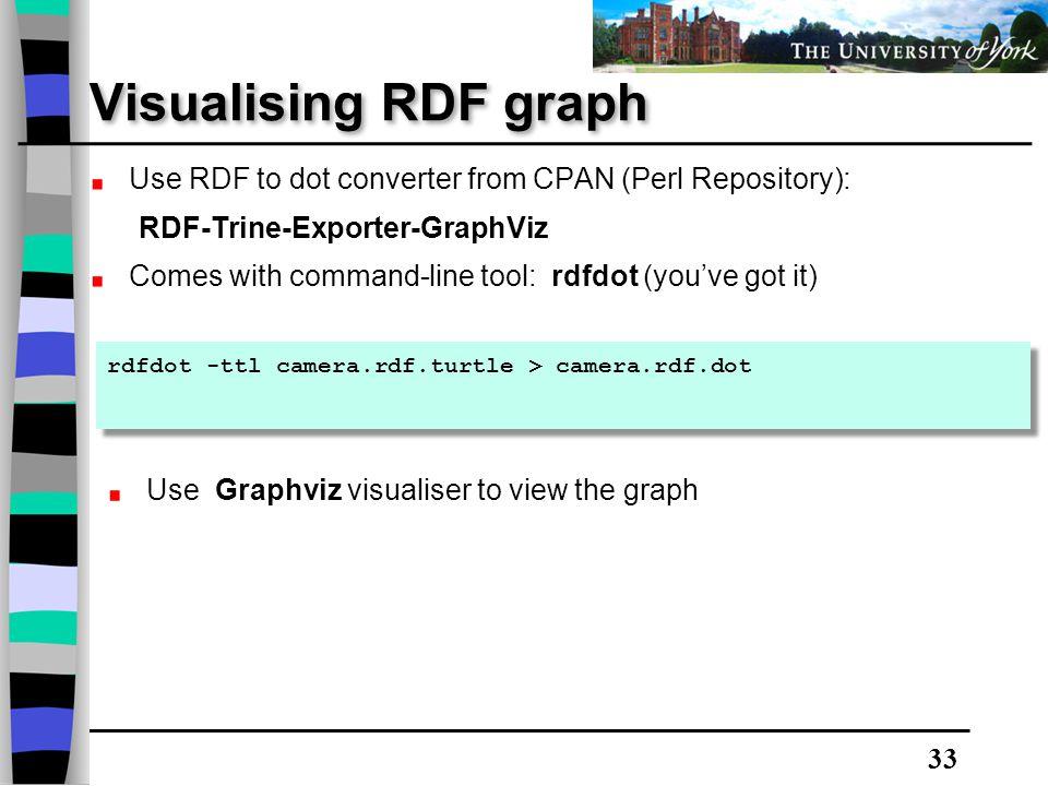 33 Visualising RDF graph rdfdot -ttl camera.rdf.turtle > camera.rdf.dot Use RDF to dot converter from CPAN (Perl Repository): RDF-Trine-Exporter-Graph