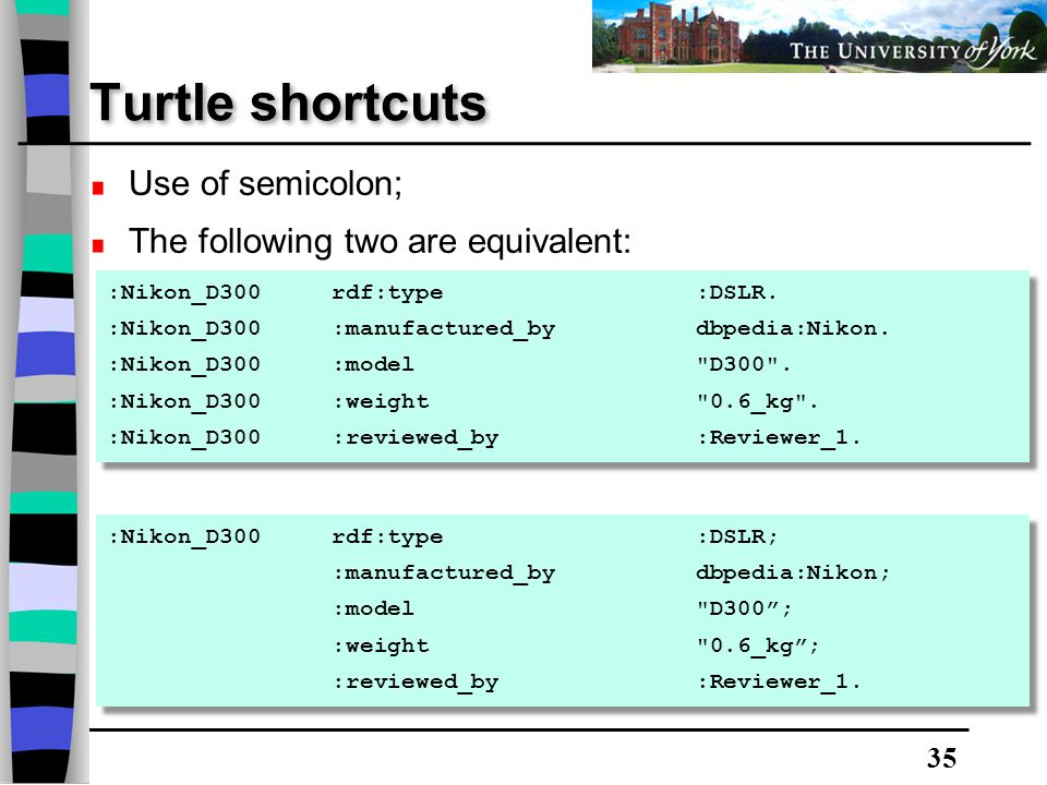 35 Turtle shortcuts :Nikon_D300 rdf:type :DSLR. :Nikon_D300 :manufactured_by dbpedia:Nikon.
