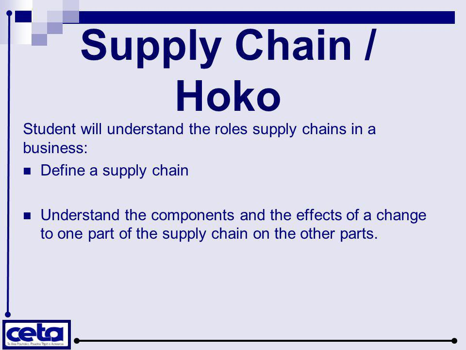 Supply Chain  A supply chain is a system of organisations, people, technology, activities, information and resources involved in moving a product or service from supplier to customer.