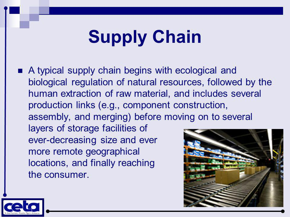 A typical supply chain begins with ecological and biological regulation of natural resources, followed by the human extraction of raw material, and in