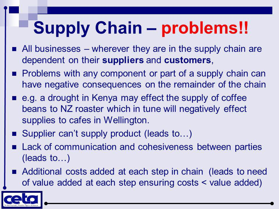 Supply Chain – problems!! All businesses – wherever they are in the supply chain are dependent on their suppliers and customers, Problems with any com