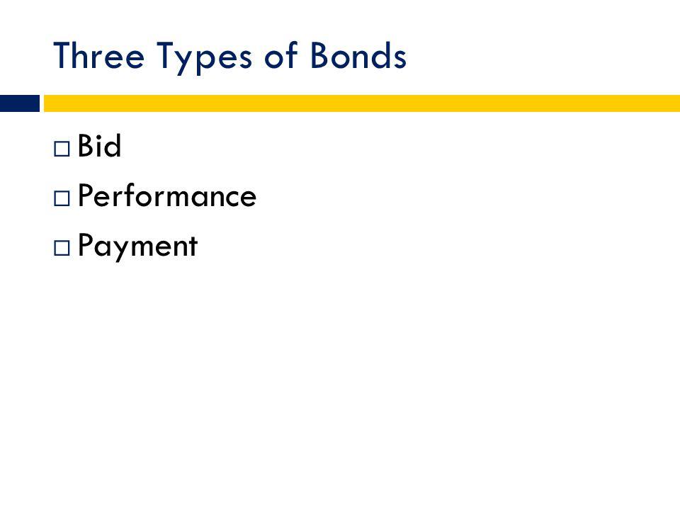Three Types of Bonds  Bid  Performance  Payment