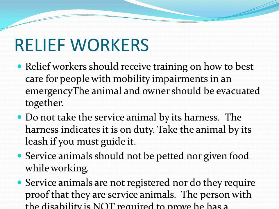 RELIEF WORKERS Relief workers should receive training on how to best care for people with mobility impairments in an emergencyThe animal and owner should be evacuated together.