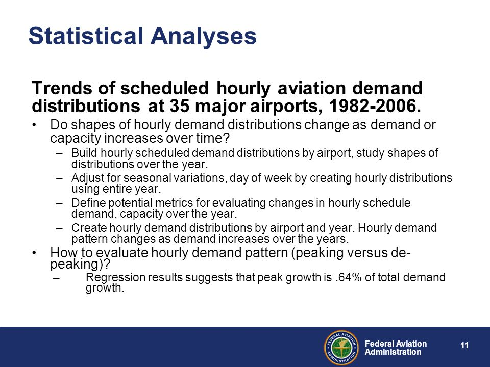 11 Federal Aviation Administration Statistical Analyses Trends of scheduled hourly aviation demand distributions at 35 major airports, 1982-2006.