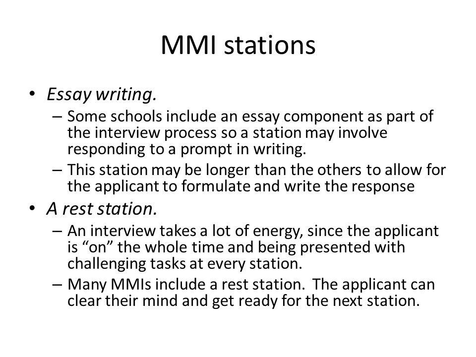 MMI stations Essay writing.