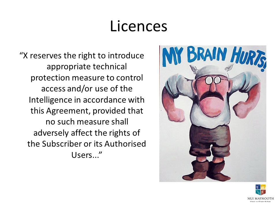 Licences X reserves the right to introduce appropriate technical protection measure to control access and/or use of the Intelligence in accordance with this Agreement, provided that no such measure shall adversely affect the rights of the Subscriber or its Authorised Users...