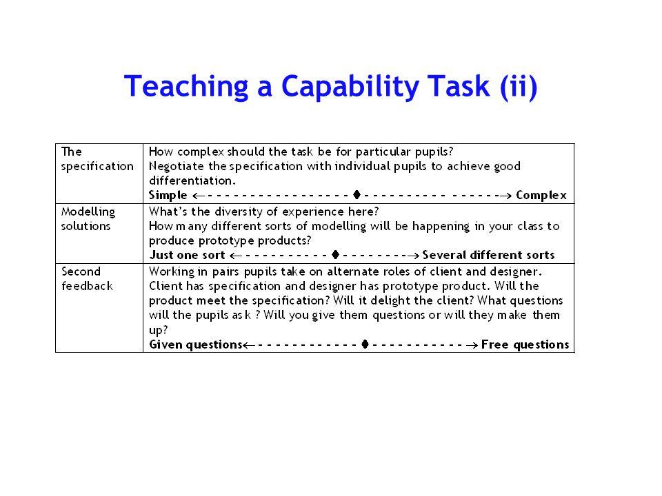 Teaching a Capability Task (i)