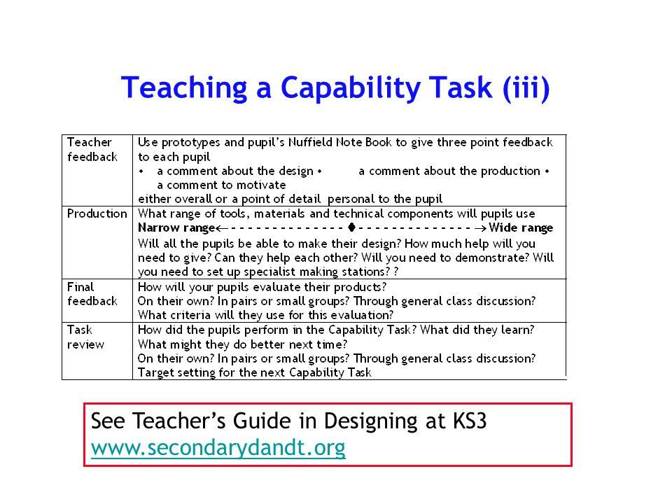 Teaching a Capability Task (ii)