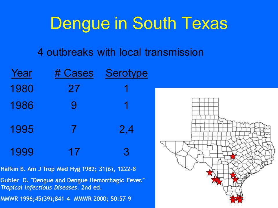 Dengue in South Texas 4 outbreaks with local transmission Year# CasesSerotype 1980271 198691 199572,4 1999173 Hafkin B.