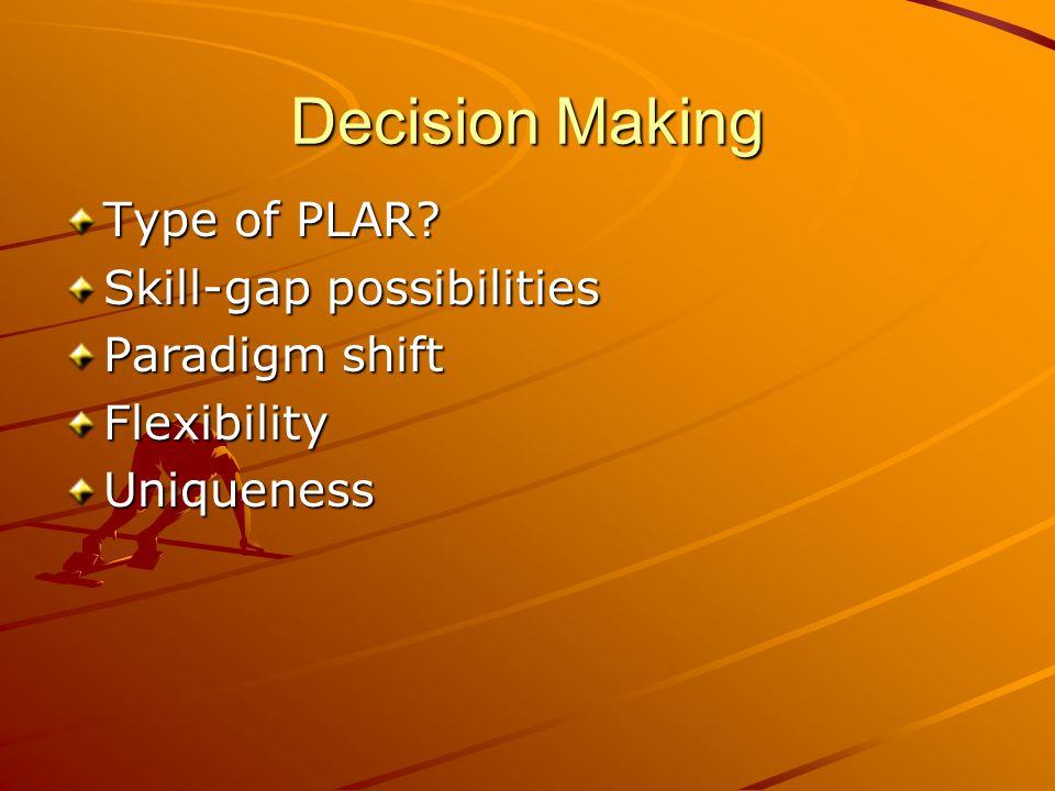 Decision Making Type of PLAR Skill-gap possibilities Paradigm shift FlexibilityUniqueness