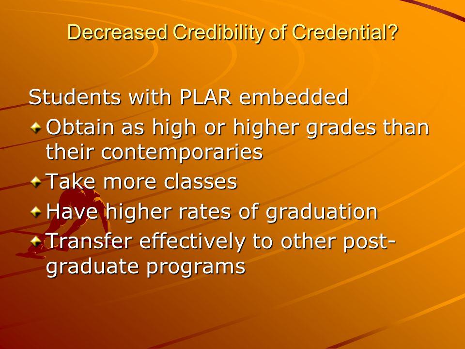 Decreased Credibility of Credential. Decreased Credibility of Credential.