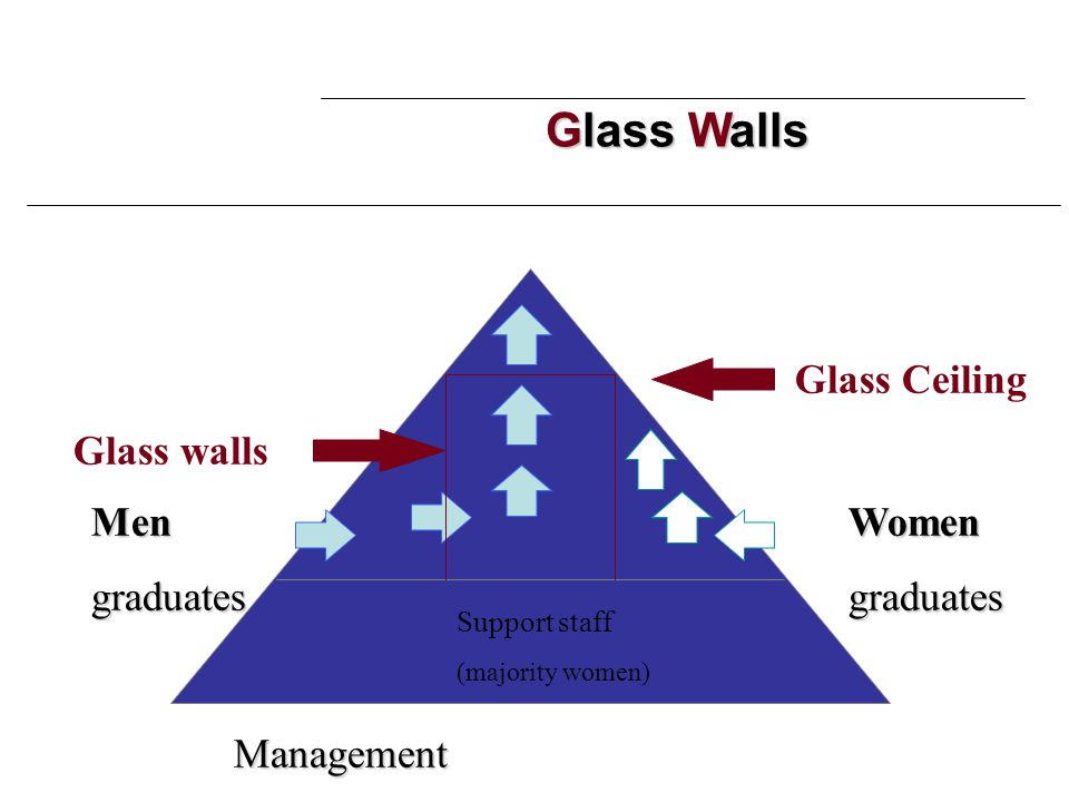 Glass Walls WomengraduatesMengraduates Glass Ceiling Glass walls Support staff (majority women) Management