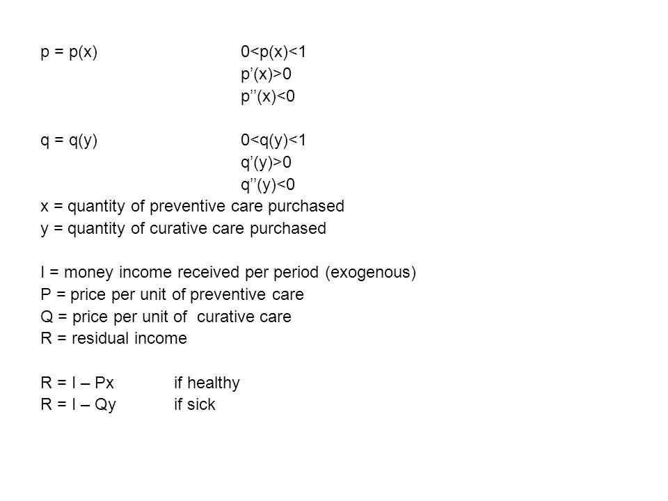 p = p(x)0<p(x)<1 p'(x)>0 p''(x)<0 q = q(y)0<q(y)<1 q'(y)>0 q''(y)<0 x = quantity of preventive care purchased y = quantity of curative care purchased I = money income received per period (exogenous) P = price per unit of preventive care Q = price per unit of curative care R = residual income R = I – Px if healthy R = I – Qyif sick
