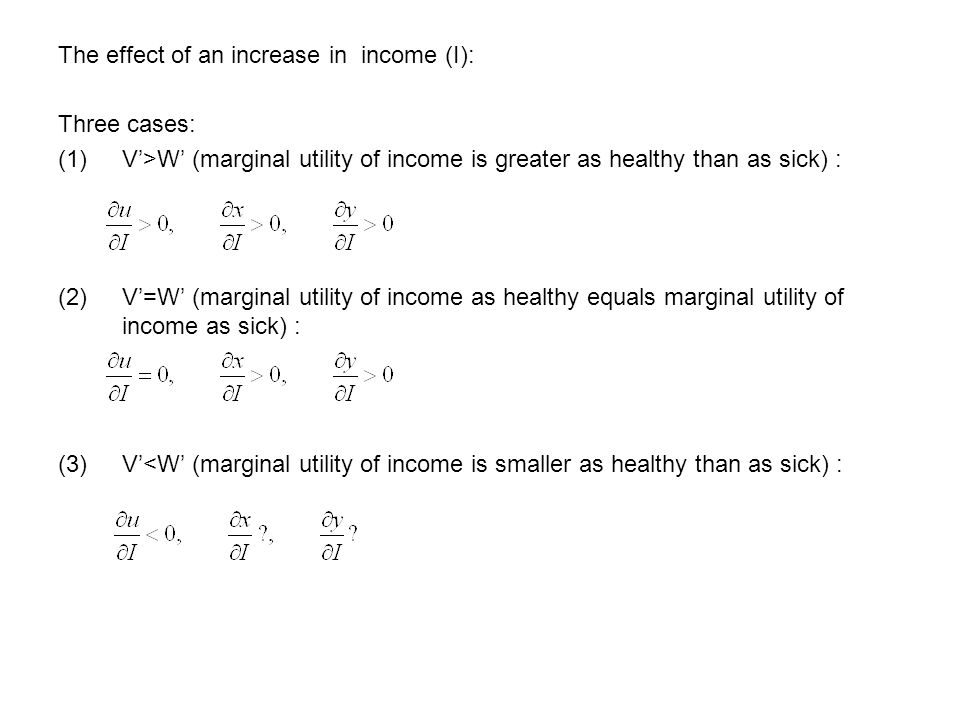 The effect of an increase in income (I): Three cases: (1)V'>W' (marginal utility of income is greater as healthy than as sick) : (2)V'=W' (marginal utility of income as healthy equals marginal utility of income as sick) : (3)V'<W' (marginal utility of income is smaller as healthy than as sick) :