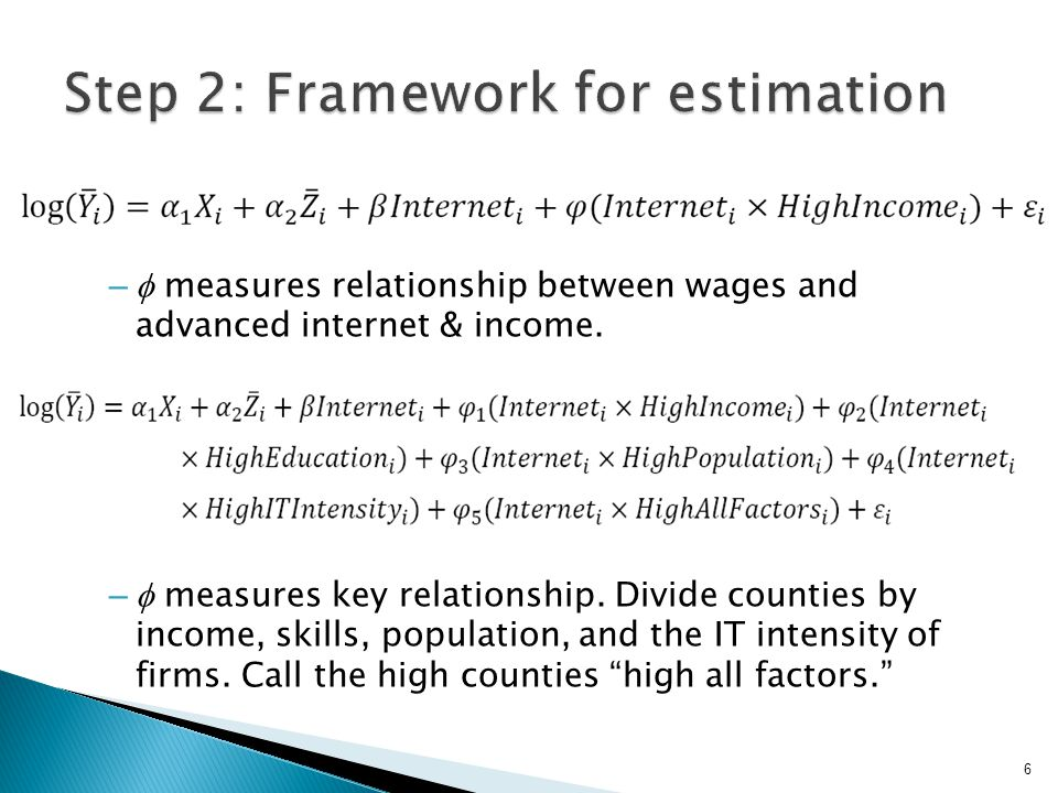 –  measures relationship between wages and advanced internet & income.