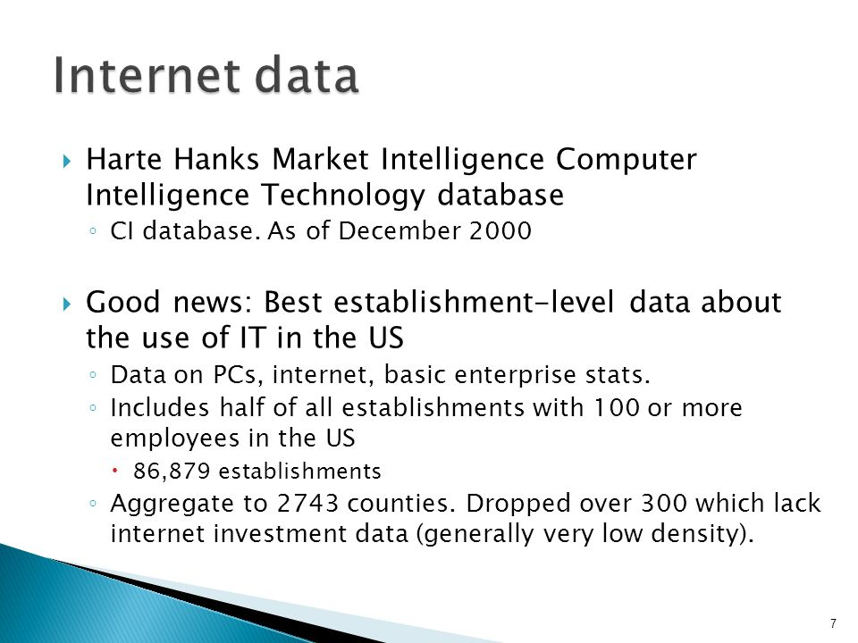  Harte Hanks Market Intelligence Computer Intelligence Technology database ◦ CI database.