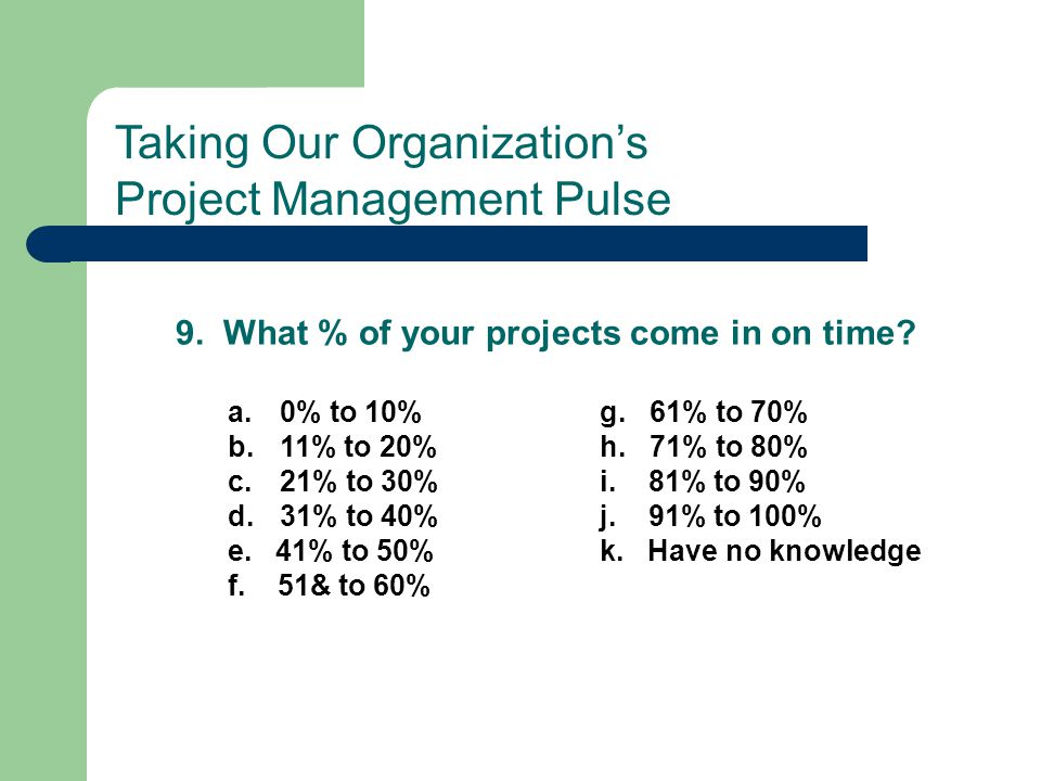 9. What % of your projects come in on time? a.0% to 10% g. 61% to 70% b.11% to 20% h. 71% to 80% c.21% to 30% i. 81% to 90% d.31% to 40% j. 91% to 100