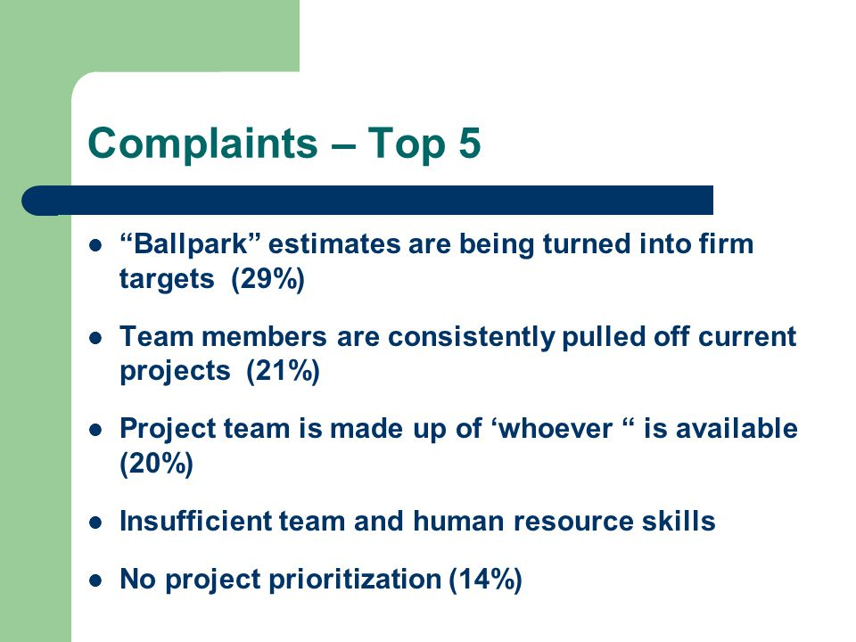 "Complaints – Top 5 ""Ballpark"" estimates are being turned into firm targets (29%) Team members are consistently pulled off current projects (21%) Proje"
