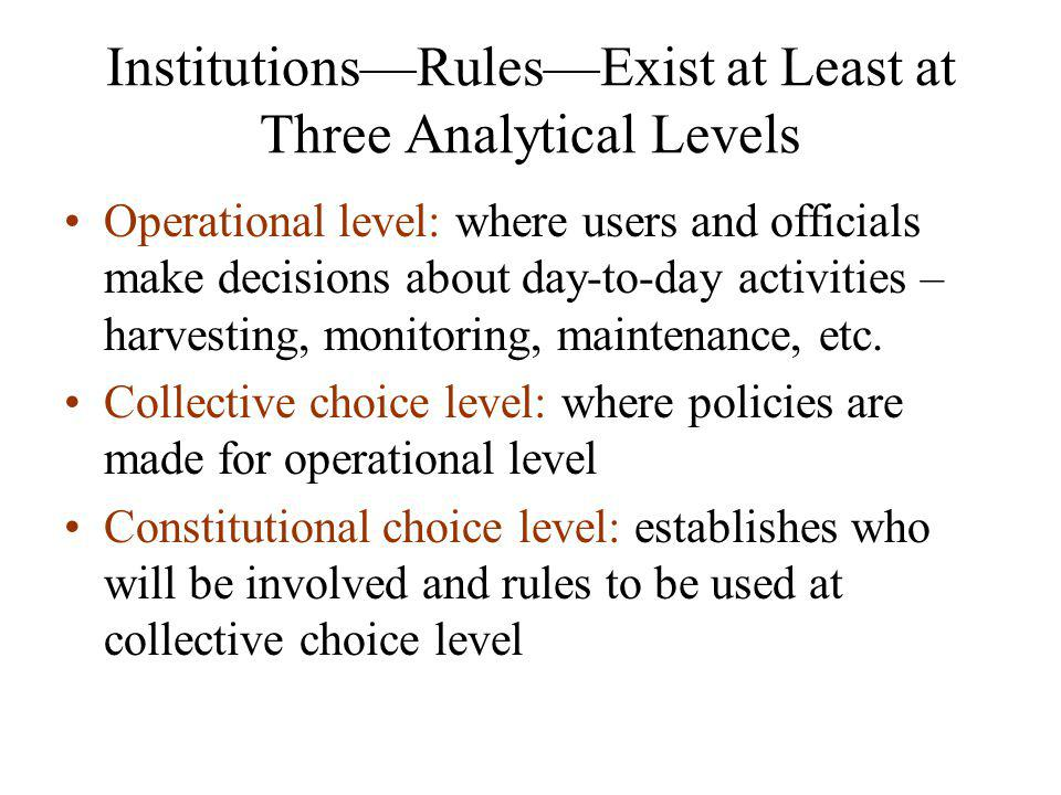 Institutions—Rules—Exist at Least at Three Analytical Levels Operational level: where users and officials make decisions about day-to-day activities – harvesting, monitoring, maintenance, etc.