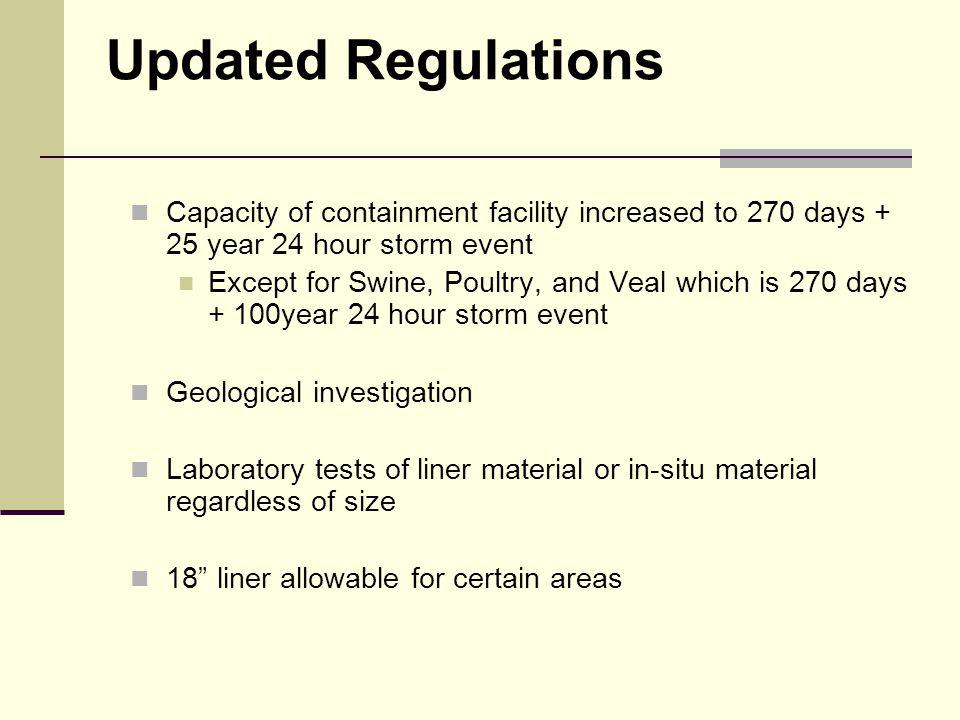 Updated Regulations Capacity of containment facility increased to 270 days + 25 year 24 hour storm event Except for Swine, Poultry, and Veal which is 270 days + 100year 24 hour storm event Geological investigation Laboratory tests of liner material or in-situ material regardless of size 18 liner allowable for certain areas