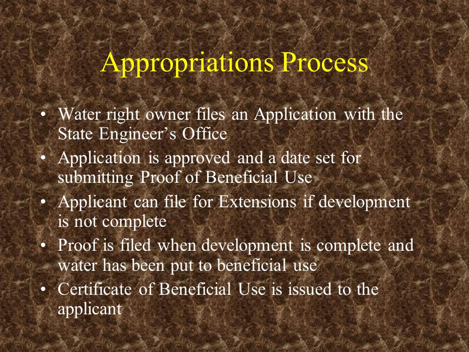 Appropriations Process Water right owner files an Application with the State Engineer's Office Application is approved and a date set for submitting P