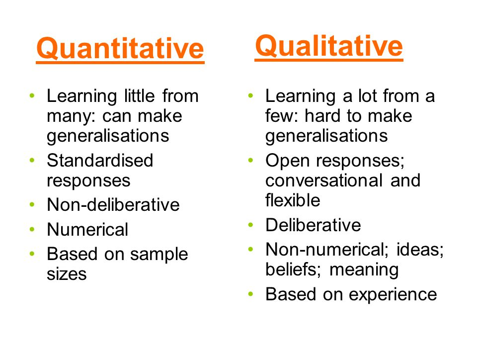 Quantitative Learning little from many: can make generalisations Standardised responses Non-deliberative Numerical Based on sample sizes Learning a lot from a few: hard to make generalisations Open responses; conversational and flexible Deliberative Non-numerical; ideas; beliefs; meaning Based on experience Qualitative