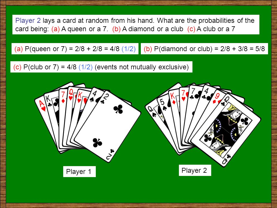 Player 1 lays a card at random from his hand.