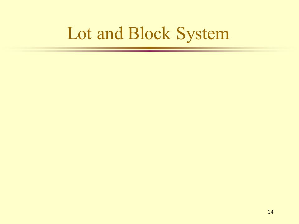 14 Lot and Block System