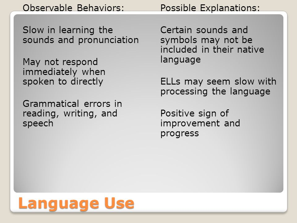 Language Use Observable Behaviors: Slow in learning the sounds and pronunciation May not respond immediately when spoken to directly Grammatical errors in reading, writing, and speech Possible Explanations: Certain sounds and symbols may not be included in their native language ELLs may seem slow with processing the language Positive sign of improvement and progress