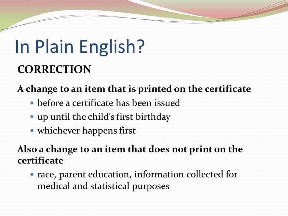 In Plain English.