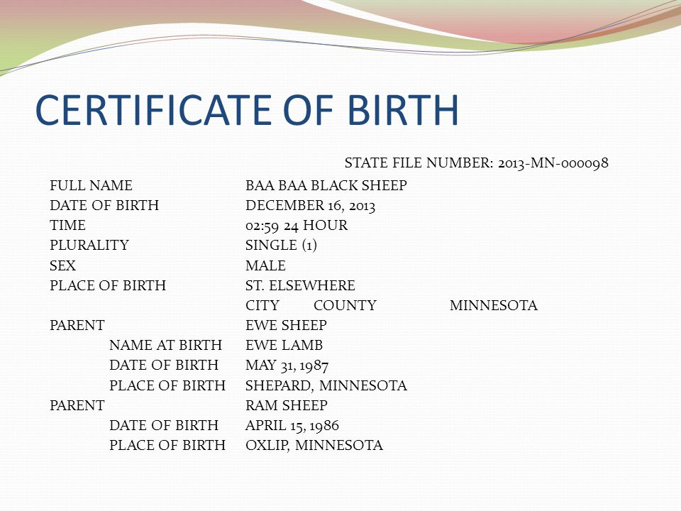 CERTIFICATE OF BIRTH STATE FILE NUMBER: 2013-MN-000098 FULL NAMEBAA BAA BLACK SHEEP DATE OF BIRTHDECEMBER 16, 2013 TIME02:59 24 HOUR PLURALITYSINGLE (1) SEXMALE PLACE OF BIRTHST.
