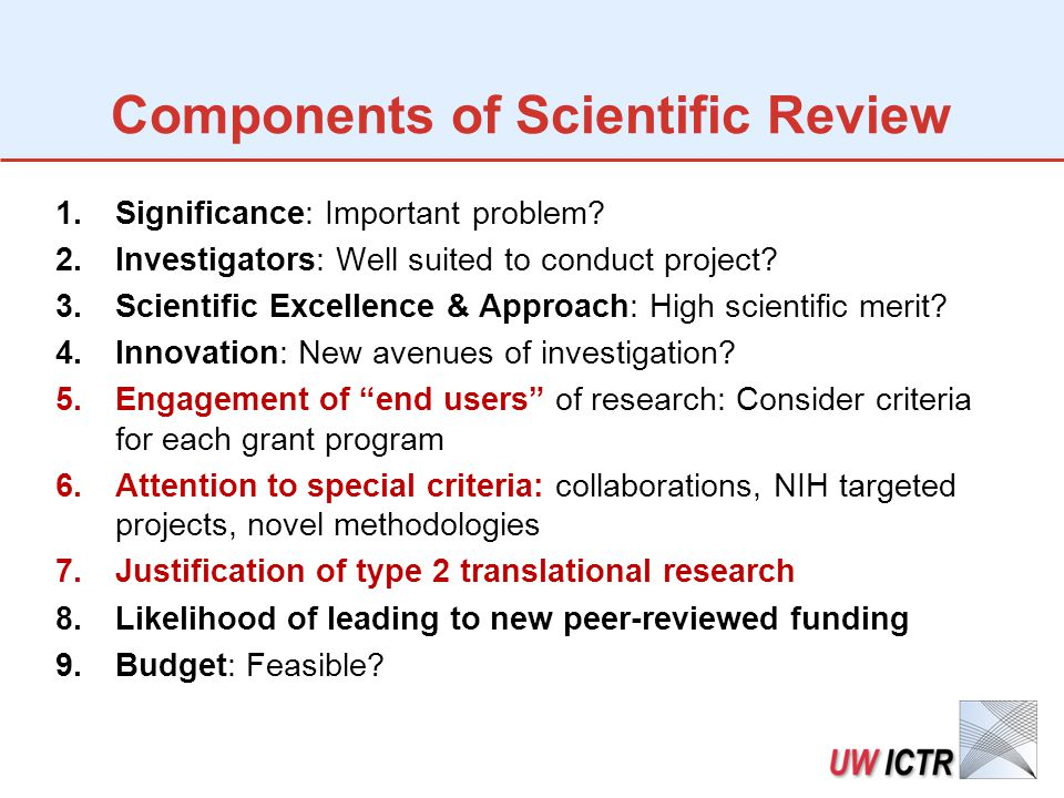 Components of Scientific Review 1.Significance: Important problem.