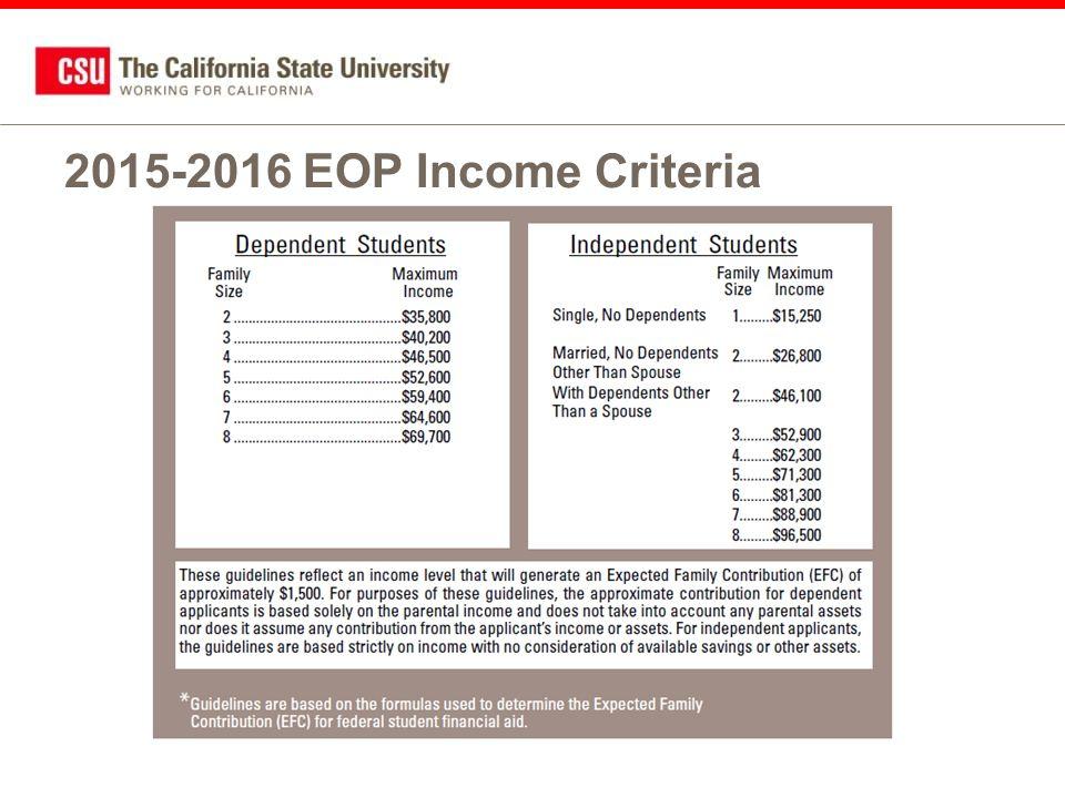 2015-2016 EOP Income Criteria
