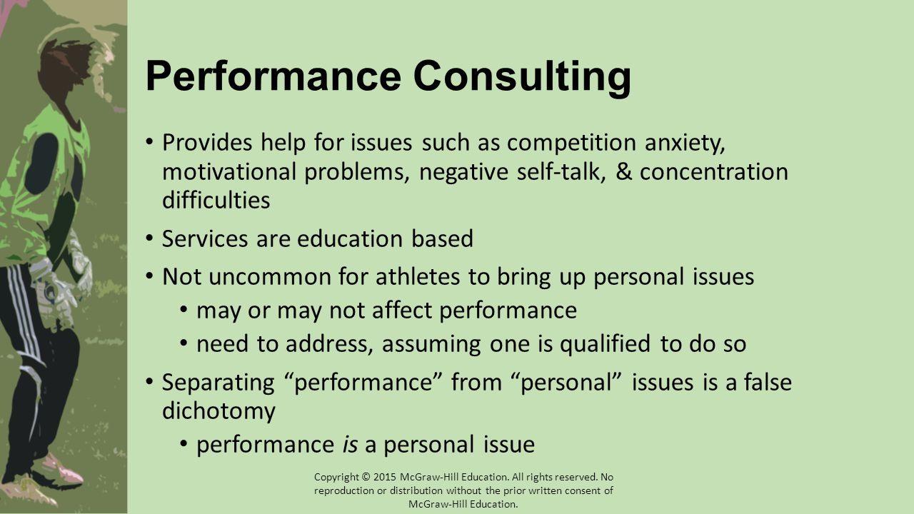 Performance Consulting Provides help for issues such as competition anxiety, motivational problems, negative self-talk, & concentration difficulties Services are education based Not uncommon for athletes to bring up personal issues may or may not affect performance need to address, assuming one is qualified to do so Separating performance from personal issues is a false dichotomy performance is a personal issue Copyright © 2015 McGraw-Hill Education.