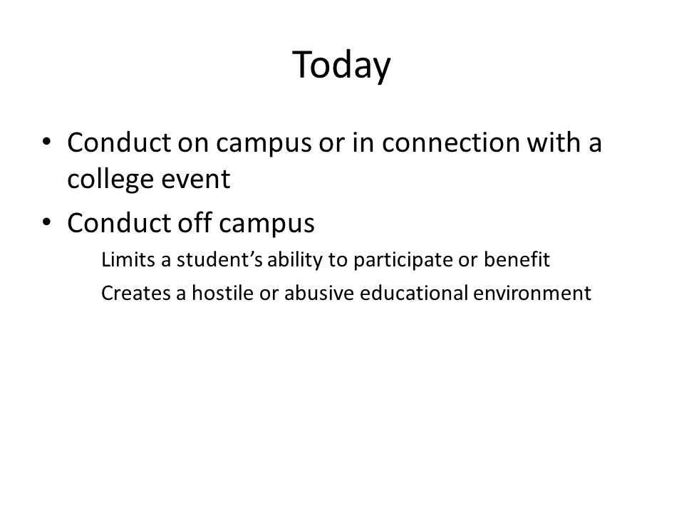 Today Conduct on campus or in connection with a college event Conduct off campus Limits a student's ability to participate or benefit Creates a hostile or abusive educational environment