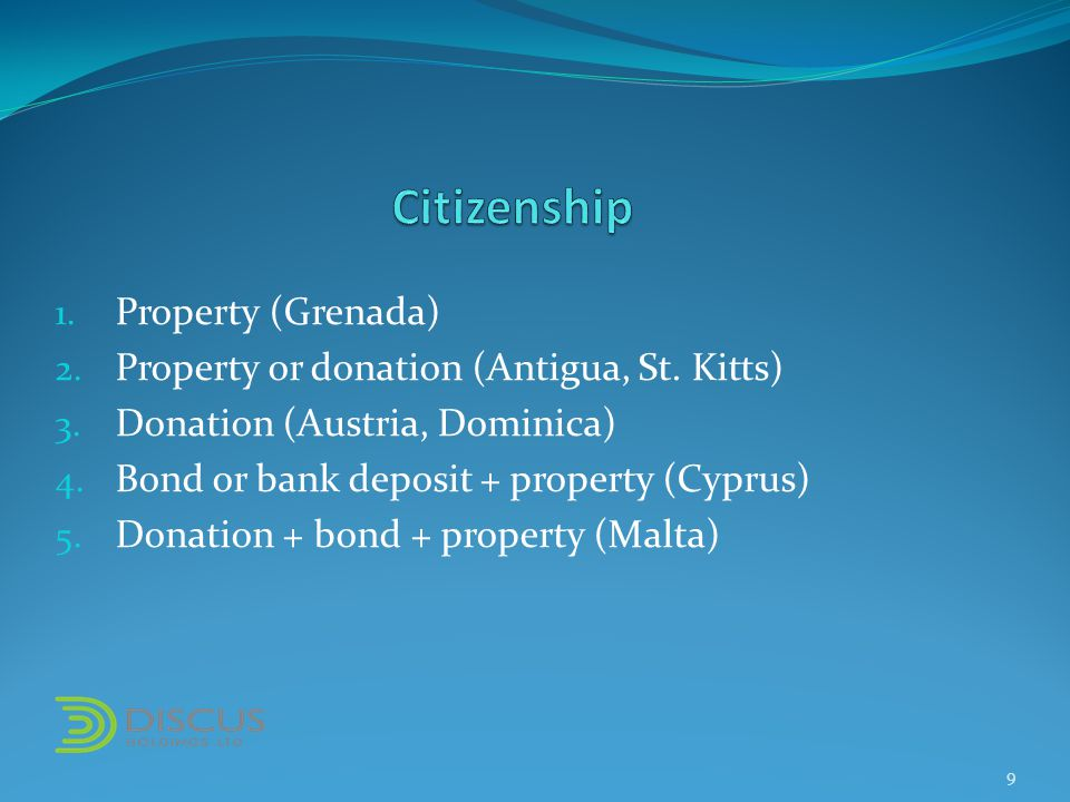 1. Property (Grenada) 2. Property or donation (Antigua, St.
