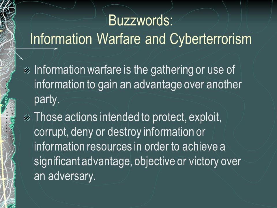 Components of Information Warfare Information warfare consists of six components: Psychological operations Electronic warfare Military deception Physical destruction Security measures Information attacks Electronic warfare is the denial of information or accurate information to an adversary.