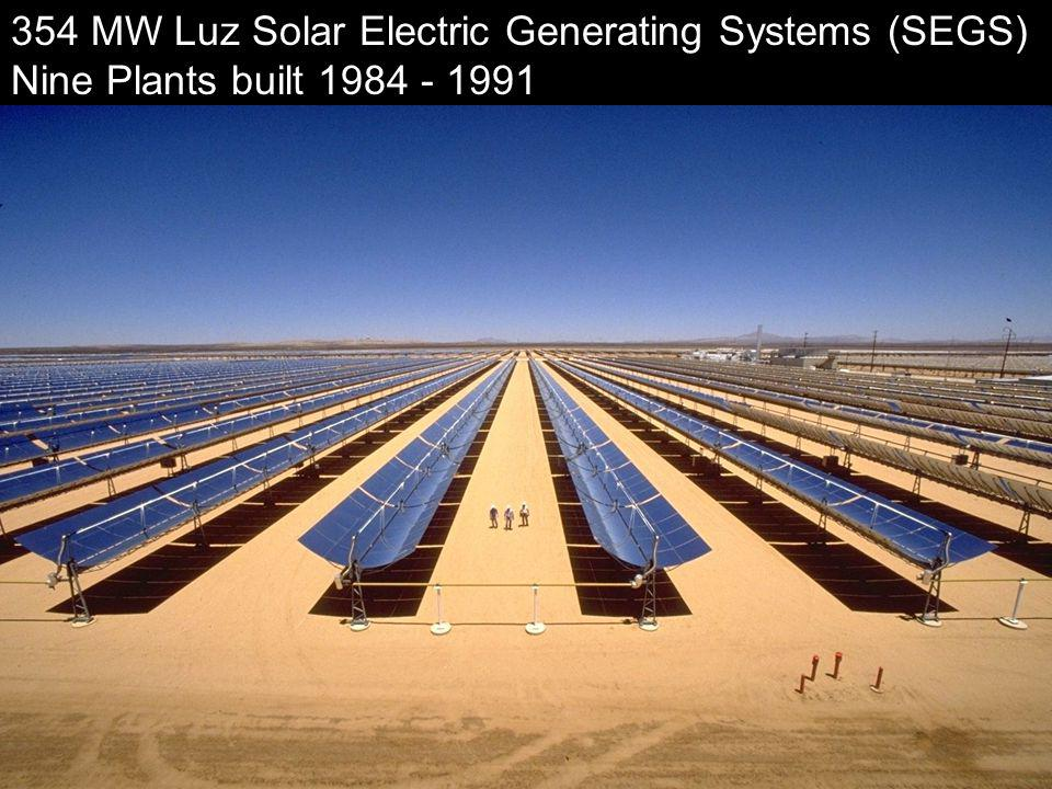National Renewable Energy Laboratory Innovation for Our Energy Future 354 MW Luz Solar Electric Generating Systems (SEGS) Nine Plants built 1984 - 1991